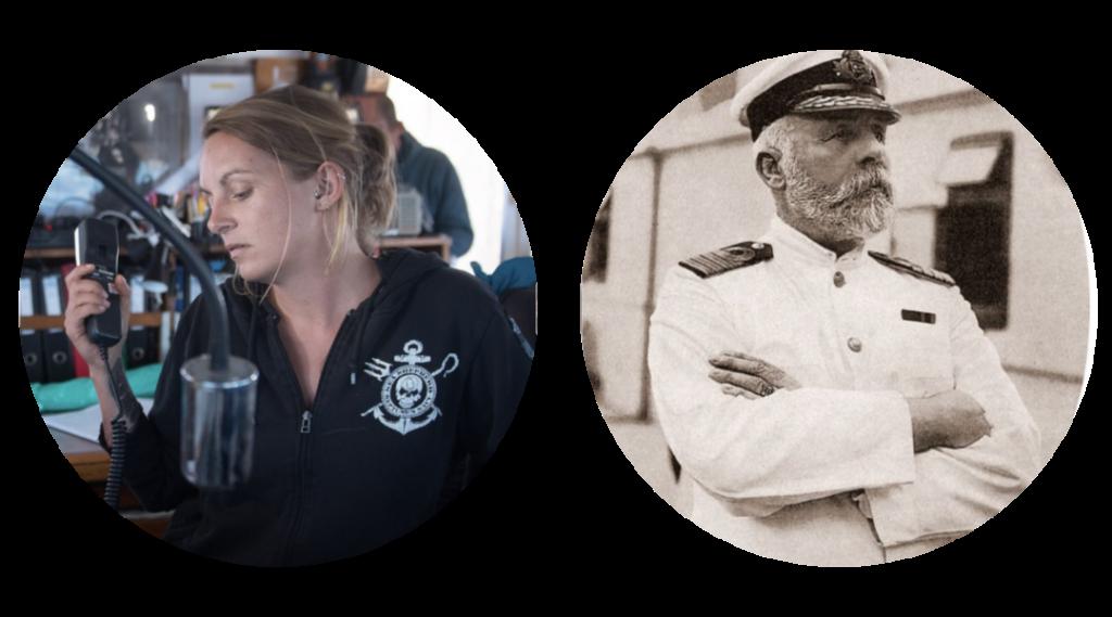 Kapitänin Pia Klemm und Kapitän Edward J. Smith
